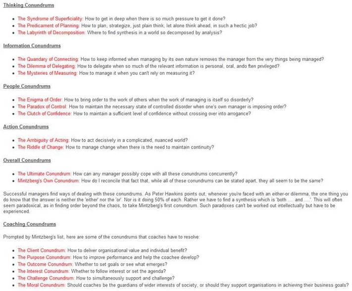 Mintzberg Table 5.1 conundrums